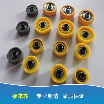 GA01-02福来轮流水线金属镀锌2038 48轴承包胶塑料滚轮流利条滑轮